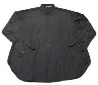 Giorgio Armani Le Collezioni LS Blue Gingham Squares Men Dress Shirt 17 1/2 44