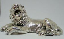 Silver Model Of A Laying Lion Miniature Wild Animals Collectible Figurines  New