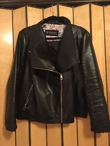 Guess Faux Leather Motorcycle Jacket, Black, Fully Lined, XXL