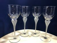 """Crystal Sea Mist Clear Frosted Stem Wine or Water 9"""" Goblets Set of 4 by Mikasa"""