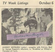 1966 BREAKFAST AT TIFFANY'S TV GUIDE AD CLIPPING AUDREY HEPBURN GEORGE PEPPARD