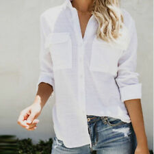 Women Cotton Linen Shirt Tops Ladies Casual Loose  Long Sleeve Office OL Blouse