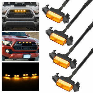 4X Raptor Style Amber Lens Grille LED Lights For Toyota Tacoma TRD Pro 2016-2020