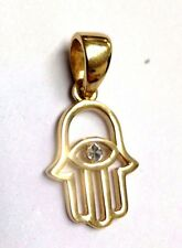Sweet Simple Solid 14K Yellow Gold Hamsa Hand Evil Eye Pendant for Necklace