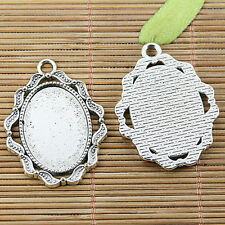 3pcs tibetan silver oval shaped rim cabochon setting EF2494