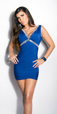 ROYAL BLUE CORSET BLING RUCHED DRESS MINIDRESS CLUBWEAR V FRONT 8 10 12