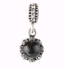 925 Silver pearls black Charm Beads Fit European Charm Bracelet Pendant #B402