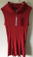 NWT Joseph A Sleeveless Cowl-Neck Metallic Poinsettia Red Sweater Size XL