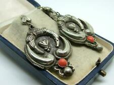 Antique/Victorian White Metal & Coral Chinese Earrings