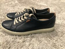 ECCO Soft 7 $160 Mens Size 8 Blue Leather Low Lace Up Casual Shoes Sneakers