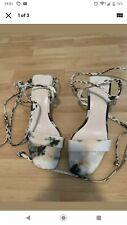 zara tie dye Strappy square toe small heel sandals 4 New