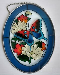 Joan Baker Hand Painted Butterfly Oval Suncatcher