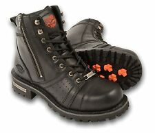 Milwaukee Men's Wide Motorcycle Boots with White Contrast Stitching (Size 14)
