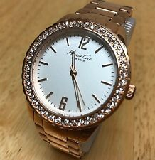 Kenneth Cole Lady Rose Gold Tone Rhinestone Analog Quartz Watch Hour~New Battery