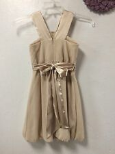 David's Bridal girls dress size 10 dressy champagne beige color balloon 59