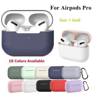 For Apple Airpod Pro soft silicon skin case cover Anti lost strap carabiner