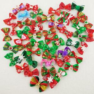 20-100X Dog Handmade Multicolor Christmas Pet Festival XMAS Santa Snow Hair Bows