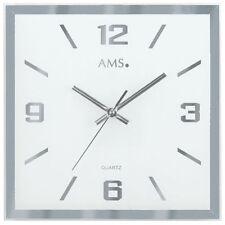 AMS 9324 Wanduhr Quarz analog silbern eckig leise ohne Ticken aus Glas