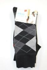Hanes Mens 3 Pair Black Pattern Solid Crew Dress Socks Shoe Size 6-12 NEW
