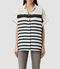 SAINTS de gran tamaño a Rayas Pome CLEO ALL Seda Camisa Blusa Prenda para el torso RRP £ 148 Reino Unido 8