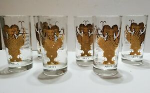 Vintage 6 Set ARIES The Ram Zodiac Glasses Gold Gilded 5.5'' Tall Astrology