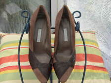BROWN SUEDE+LEATHER TRIM LADIES COURT SHOES. ITALIAN-NEW NO BOX OR TAGS.SIZE 37.