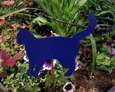 CAT Blue metal art-  animal pet garden art w/ detachable stake and wall art