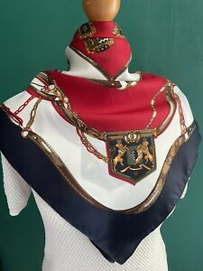 "Vintage Head Scarf Red White Navy Blue Regal Baroque Size 31"" Retro Equestrian"