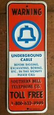 SOUTHERN BELL TELEPHONE METAL WARNING Sign Phone not Gas & Oil At&t