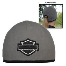 Harley-Davidson Women's Studded Blank B&S Ponytail Hole Knit Cap, Gray KN104880