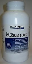 PlusPharma Calcium 500mg w/ Vitamin D 200IU (Compare to Os-Cal 500 + D) 1000ct
