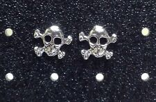 Sterling Silver Skull & CrossBones Post /Stud Earrings 1 Pair. Free Ship in USA!