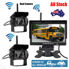 "7"" Monitor+ 2 X Wireless Reversing Rear View Camera Kit For RV Truck Bus Caravan"