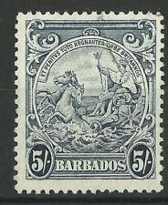 BARBADOS KGV1 1941 5s INDIGO USED