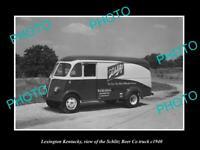 OLD LARGE HISTORIC PHOTO LEXINGTON KENTUCKY THE SCHLITZ BEER TRUCK 1940 1