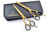 "Professional Barber Hairdressing Set Scissor 6"" Haircutting Shear RAZOR CUT GOLD"