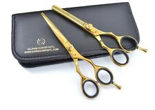 "Professional Barber Hairdressing Set Scissor 6"" Haircutting Shear RAZOR CUT GOLD"