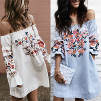 Women Casual Floral Off Shoulder Casual Evening Party Cocktail Short Mini Dress