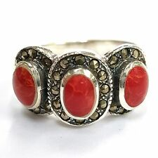 RED CORAL MARCASITE ART DECO STYLE RING 925 STERLING SILVER SIZE- 8