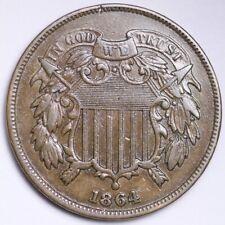 1864 Two Cent Piece CHOICE AU+/UNC FREE SHIPPING E171 AEU
