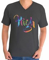 Men's Neon Get High V-neck T shirts Shirts Tops Psychedelic Tie Dye High