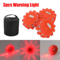 3 Pcs LED Road Flares Flashing Warning Light Roadside Safety Light for Ca