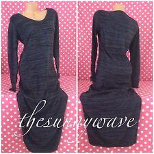 Victoria Secret Sweater Dress Maxi Black & Blue Long Sleeve Knit Stripes NWOT L