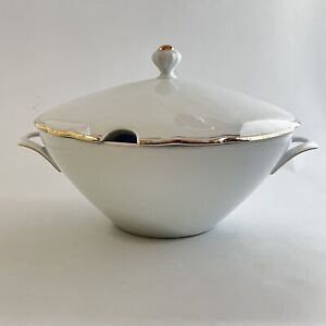 Bareuther & Co BTH48 White Soup Tureen Gold Verge Gold Trim 9 5/8