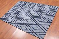 4' x 6' Handmade Loop Pile Diamond Wool Oriental Area rug Contemporary 4x6 Blue