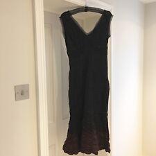 Sportmax Maxmara Ruched Black Purple Silk Fitted Sleeveless Cocktail Dress UK 10