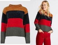 Marks and Spencer M&S lovely colour block chenille jumper NEW size UK 8 - 18