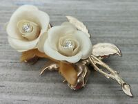 Vintage Rhinestone Flower Pin Brooch Gold Tone