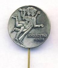 1968 ICU World FIGURE SKATING Championships PIN BADGE Geneve SWITZERLAND