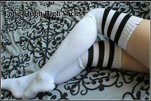 Extra Long Thigh High Socks Over The Knee OTK White Black Women School Girl Men